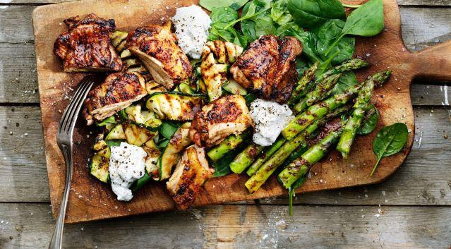 grillad-kyckling-med-marinerade-sommargronsaker