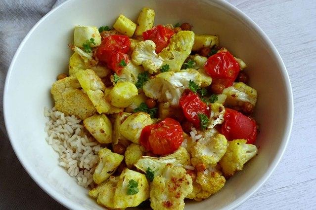 Geroosterde-bloemkool met tomaatjes